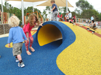 National Playground Surfacing Rubber Tiles And Poured In